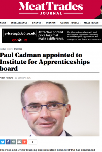 Meat Trades Journal article on Paul Cadmans appointment to the New IAB